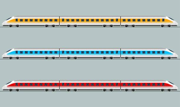 Train. Modern passenger express trains. Railway carriage. Railroad wagons. Vector illustration. Train. Modern passenger express trains. Railway carriage. Railroad wagons. Vector illustration. bullet train stock illustrations