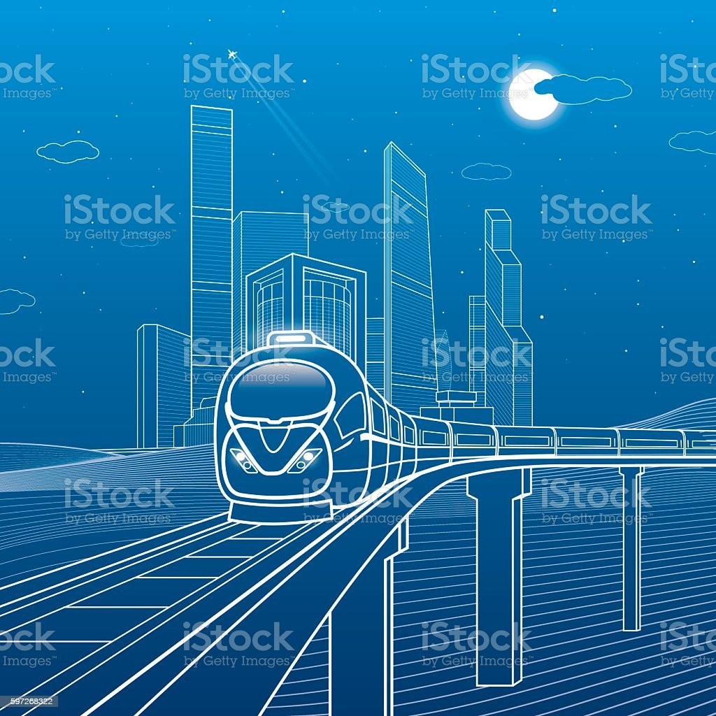 Train move on the bridge. Business center, transport urban illustration, royalty-free train move on the bridge business center transport urban illustration stock vector art & more images of airplane
