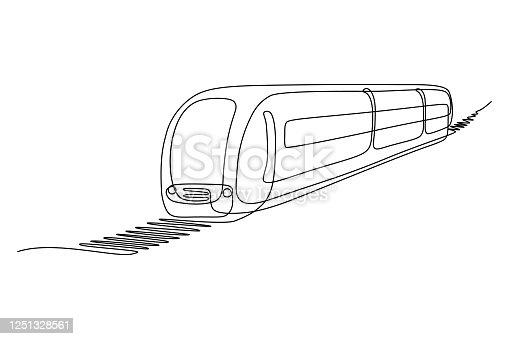 istock Train moving on rail track 1251328561