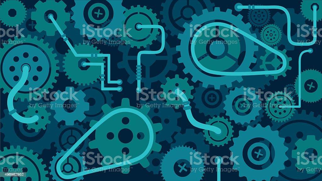Train of gears, trundles, cogwheels, clock machine mechanism vector background vector art illustration