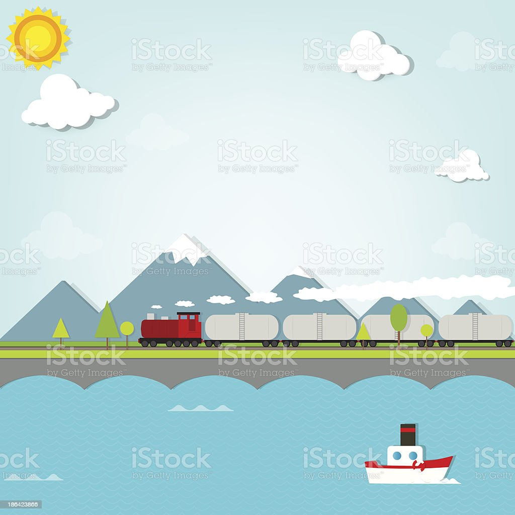 train on background of mountains vector art illustration