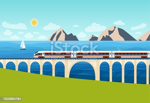 Train on railway and bridge with  mountains and ocean. Vector flat style illustration