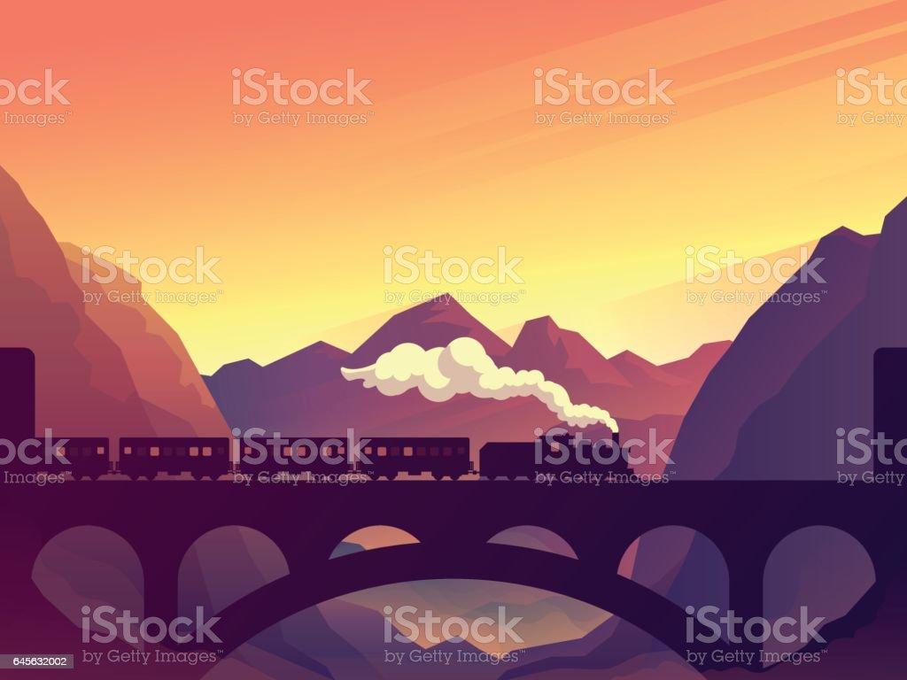 Train on railway bridge with outdoor landscape vector art illustration