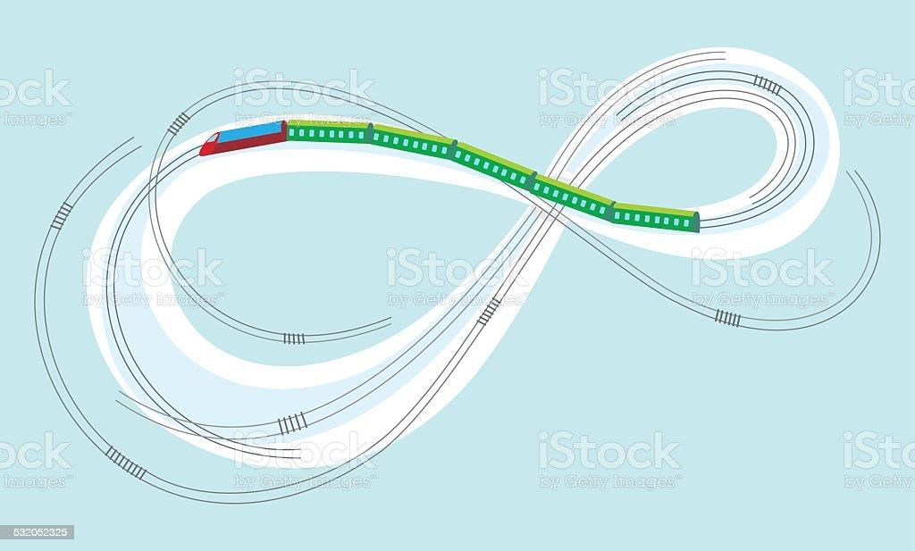 Train on the Moebius strip vector art illustration