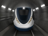 Train or metro in tunnel front view, subway locomotive on rails with windshield and illumination. Modern underground city transport, railway passenger commuter vehicle Realistic 3d vector illustration