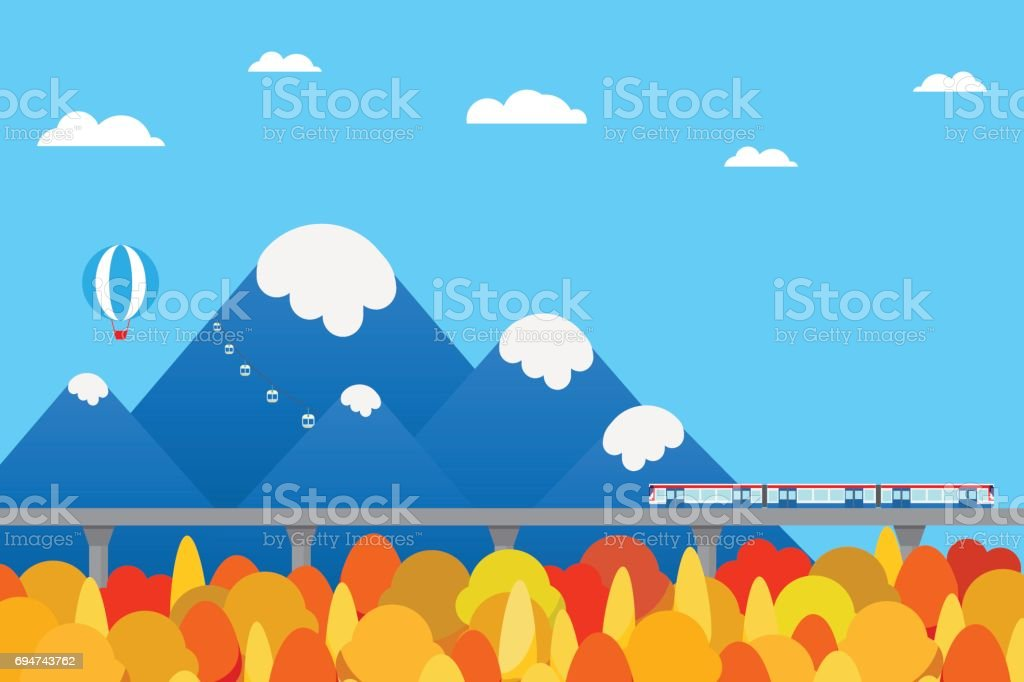 train outbound to countryside autumn color change season with mountain background stock illustration download image now istock train outbound to countryside autumn color change season with mountain background stock illustration download image now istock