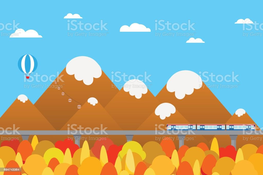train outbound to countryside with mountain in autumn season background stock illustration download image now istock train outbound to countryside with mountain in autumn season background stock illustration download image now istock