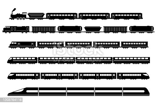 Train Rail Railway Metro Vector Icons Set