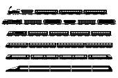 Train Rail Railway Metro Vector Icons Set