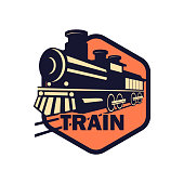 train railway insignia isolated on white background. vector illustration