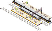 Railway station isometric composition with passenger platforms staircase tunnel entrance rail bus and high speed train vector illustration