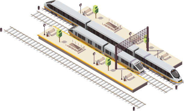 train railway isometric composition Railway station isometric composition with passenger platforms staircase tunnel entrance rail bus and high speed train vector illustration station stock illustrations