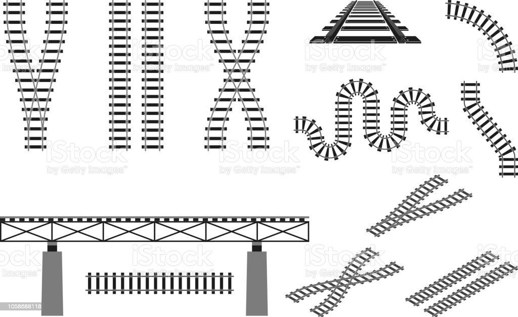train railway road rails constructor elements vector illustration