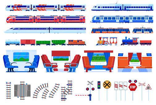 Train railway transportation vector illustration set, cartoon flat railroad travel transport collection isolated on white