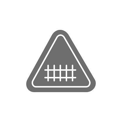 Train road attention sign, railroad tracks grey icon.