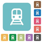 Train rounded square flat icons
