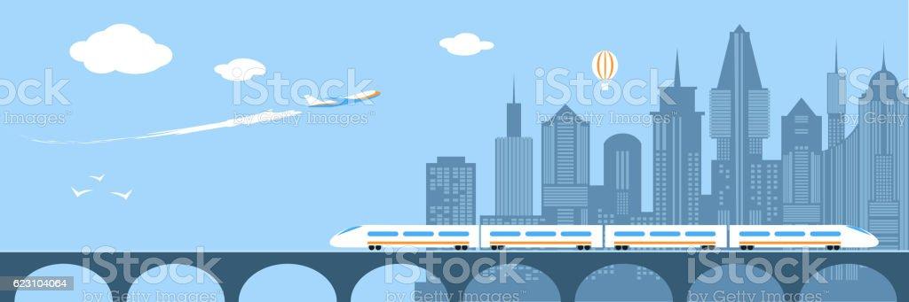 Train running through the city. Railway and bridge vector art illustration