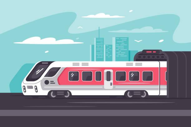 ilustraciones, imágenes clip art, dibujos animados e iconos de stock de tren corriendo fuera de la ciudad en el largo camino. - tren