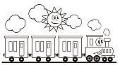 Train set, three wagons and locomotive. Funny vector illustration.