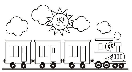 Tren Seti Uc Vagon Ve Lokomotif Komik Vektor Cizim Stok Vektor