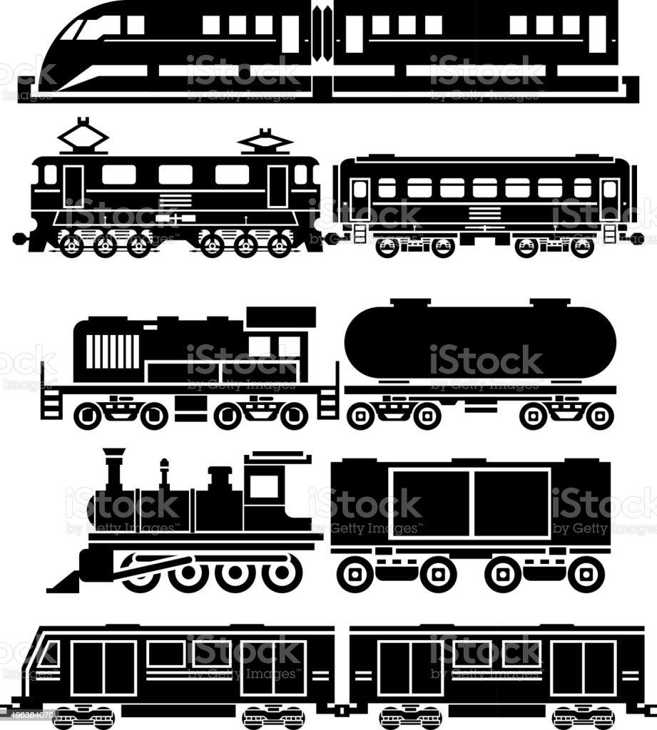 Train, sky train, subway vector icons set. Passenger and public vector art illustration