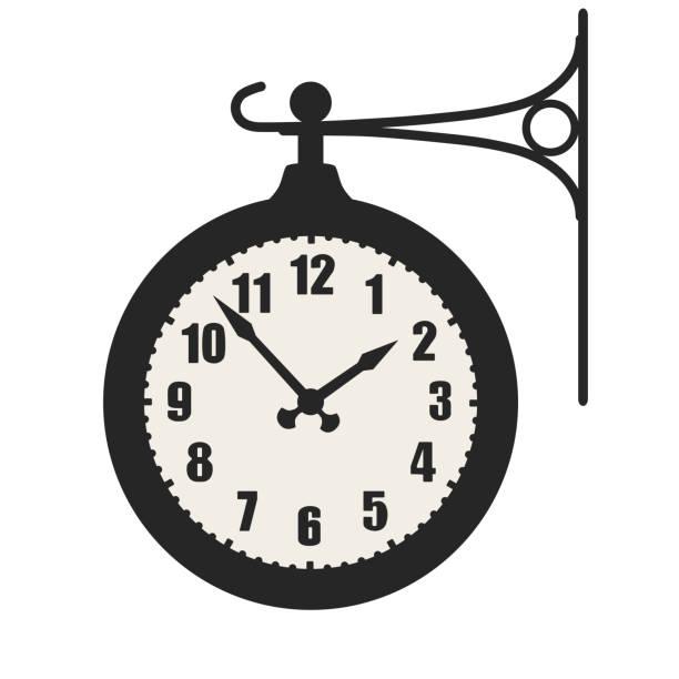 ilustraciones, imágenes clip art, dibujos animados e iconos de stock de tren de la señal de reloj de estación, símbolo aislada sobre fondo blanco - wall clock