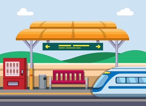 Train station concept in cartoon flat illustration vector