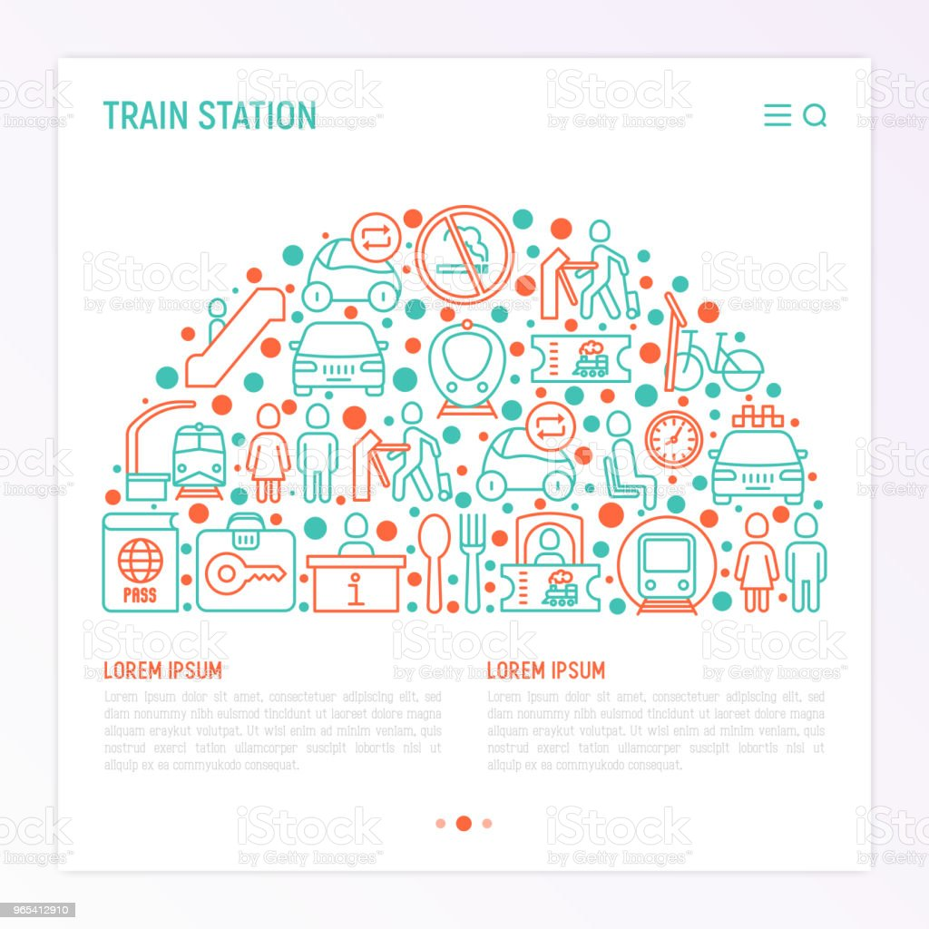 Train station concept in half circle with thin line icons: information, ticket office, toilet, taxi, metro, waiting room, luggage storage, turnstile, food court, no smoking. Vector illustration. train station concept in half circle with thin line icons information ticket office toilet taxi metro waiting room luggage storage turnstile food court no smoking vector illustration - stockowe grafiki wektorowe i więcej obrazów bagaż royalty-free