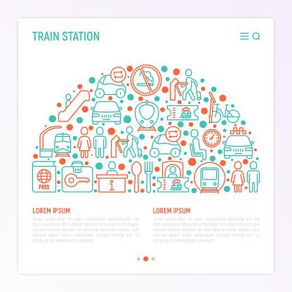 얇은 선 아이콘으로 30 원에 기차 역 개념 정보 매표소 화장실 택시 지하철 대기실 짐 보관소 개찰 구 푸드 코트 금연 벡터 일러스트입니다 0명에 대한 스톡 벡터 아트 및 기타 이미지
