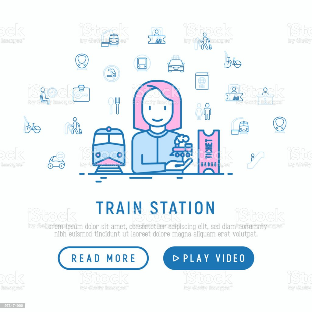 train station concept with thin line icons information ticket office