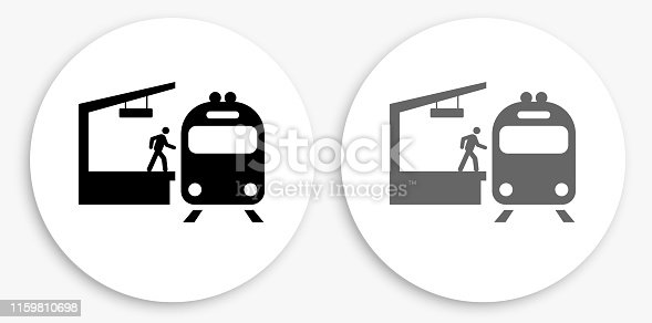 Train Stop Black and White Round Icon. This 100% royalty free vector illustration is featuring a round button with a drop shadow and the main icon is depicted in black and in grey for a roll-over effect.