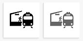 Train Stop Black and White Square Icon. This 100% royalty free vector illustration is featuring the square button with a drop shadow and the main icon is depicted in black and in grey for a roll-over effect.