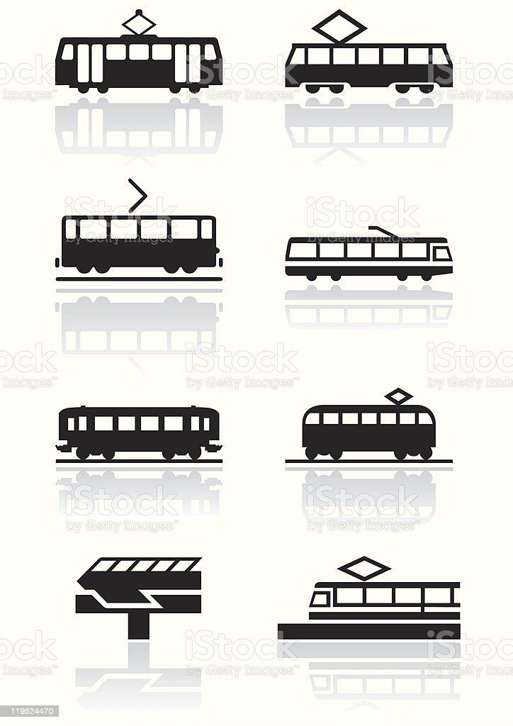Train symbol vector illustration set. vector art illustration