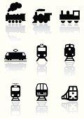 Train symbol vector illustration set.
