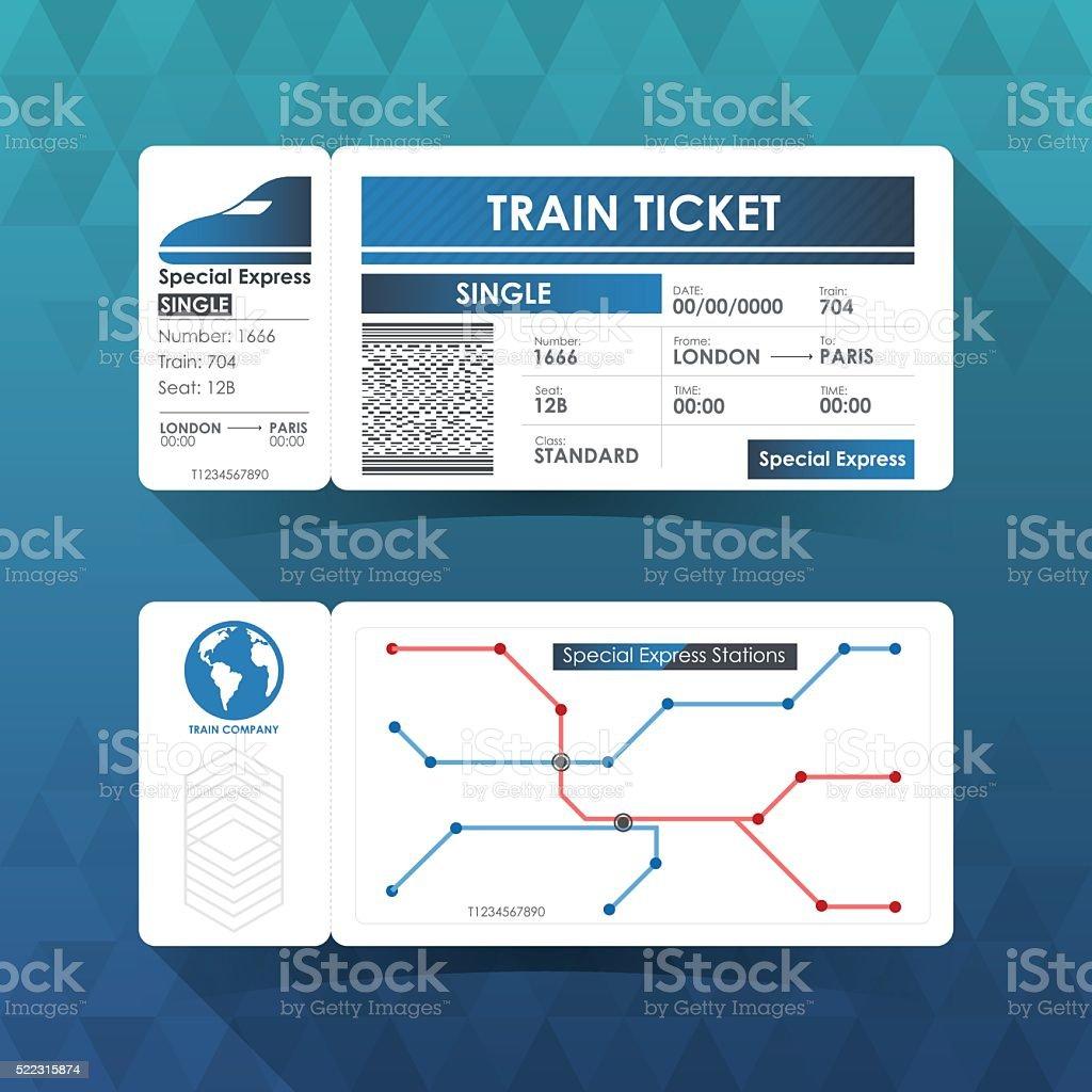 Bahnfahrkarte Karte, Element Gestaltung mit blauer Farbe. Vektor Illustr – Vektorgrafik