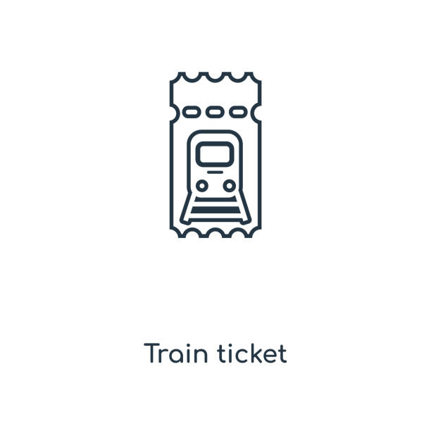 Train ticket concept line icon. Linear Train ticket concept outline symbol design. This simple element illustration can be used for web and mobile UI/UX. Train ticket concept line icon. Linear Train ticket concept outline symbol design. This simple element illustration can be used for web and mobile UI/UX. train ticket stock illustrations