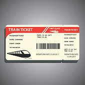 train ticket for traveling by train. vector illustration