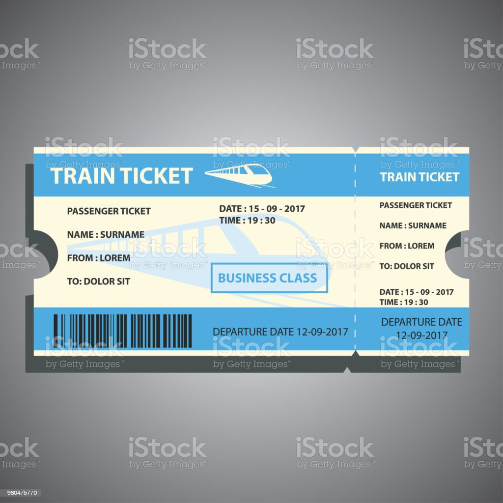 Bahnticket für Reisen mit dem Zug. Vektor-illustration – Vektorgrafik