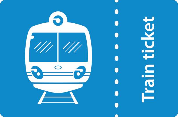 Train ticket icon isolated. Train ticket icon on blue background isolated. train ticket stock illustrations