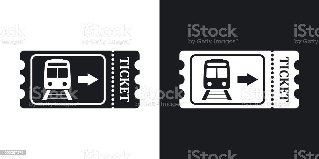 Train ticket icon, stock vector. Two-tone version – Vektorgrafik
