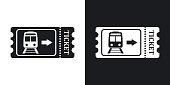 Train ticket icon, stock vector. Two-tone version