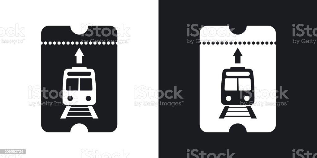 Train ticket icon, vector. Two-tone version – Vektorgrafik