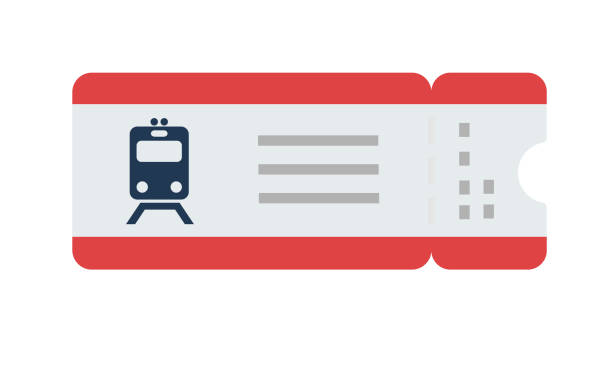Train ticket vector flat isolated Train ticket with a tear-off coupon vector flat material design isolated on white subway stock illustrations