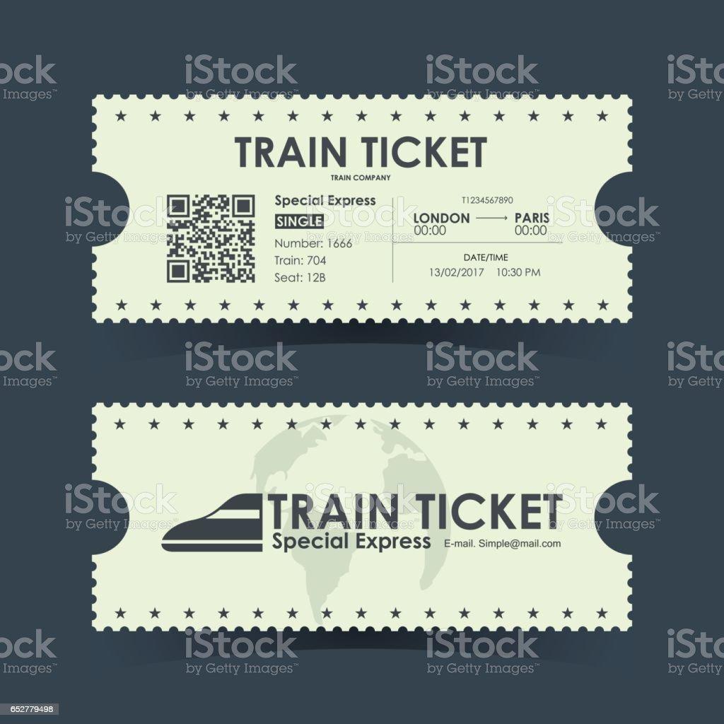 Zug Ticket Vintage Konzeption. Vektor-Illustration. – Vektorgrafik