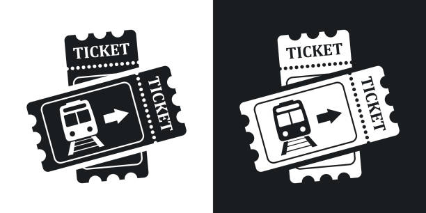 Train tickets icon, stock vector. Two-tone version Train tickets icon, stock vector. Two-tone version on black and white background train ticket stock illustrations
