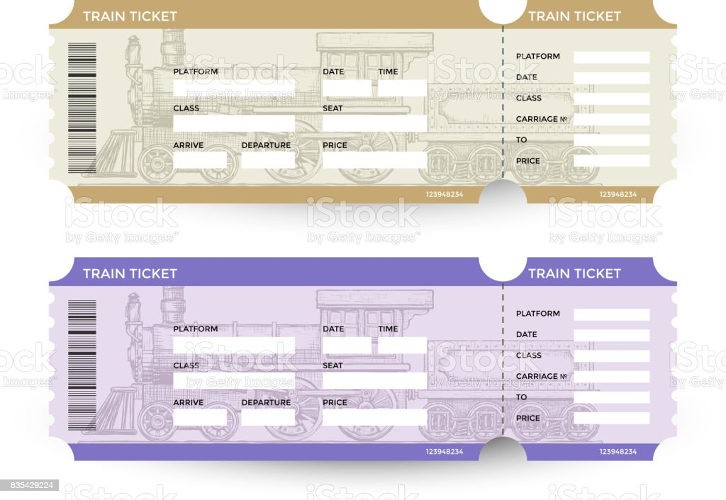 Train tickets. Travel concept. Isolated on white. Vector