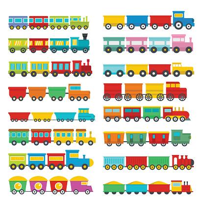 Train toy children icons set, flat style