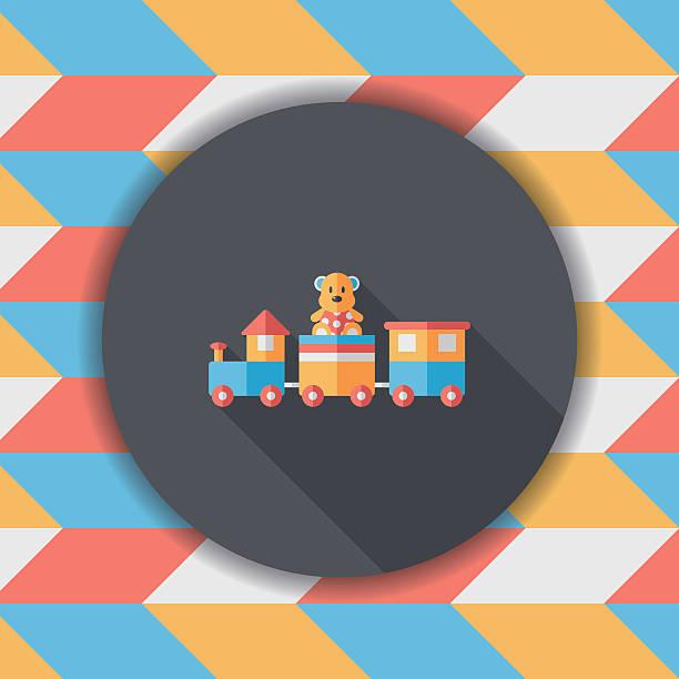 zug-spielzeug flach icon mit langen schatten, eps - 10 - puppenkurse stock-grafiken, -clipart, -cartoons und -symbole
