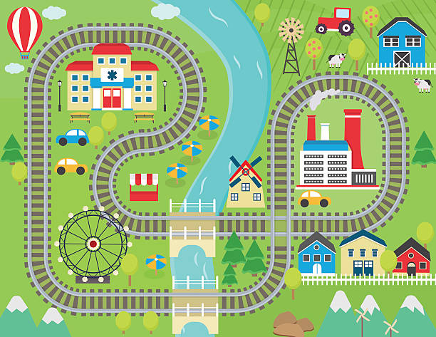 train track play placemat - railroad track stock illustrations, clip art, cartoons, & icons