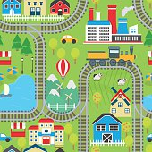 Train track seamless pattern